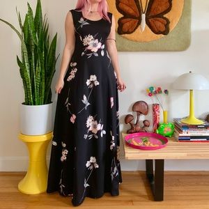 Vintage 70s all over floral print black maxi dress